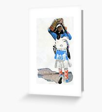 Girl with Accordian Sunshade Greeting Card