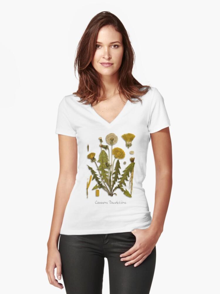 Dandelion Women's Fitted V-Neck T-Shirt Front