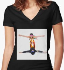 Balance - two acrobats balancing on each other. Man balances woman Women's Fitted V-Neck T-Shirt