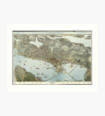 Vintage Pictorial Map of Seattle Washington (1891)  Art Print