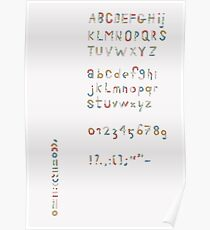 Alphabet in pieces of pattern paper Poster
