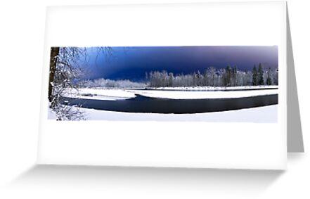 Skykomish River Night Scene Panoramic by Jim Stiles