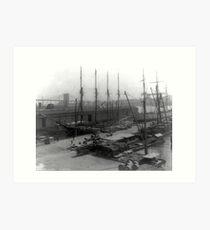 Lámina artística Vintage Ships at Dock NYC Photograph (1908)
