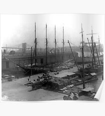 Póster Vintage Ships at Dock NYC Photograph (1908)