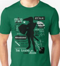 """Legend of Zelda - Link """"Quotes"""" T-Shirt"""