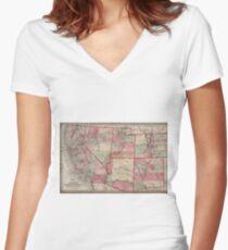 Vintage Southwestern United States Map 1869 Women S Fitted V Neck T Shirt