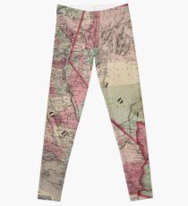 Vintage Southwestern United States Map 1869 Leggings
