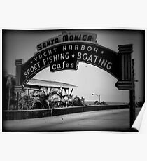 Santa Monica Pier Sign. Series. 2 of 5. Holga Black & White Poster