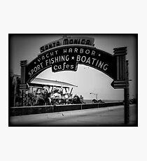 Santa Monica Pier Sign. Series. 2 of 5. Holga Black & White Photographic Print