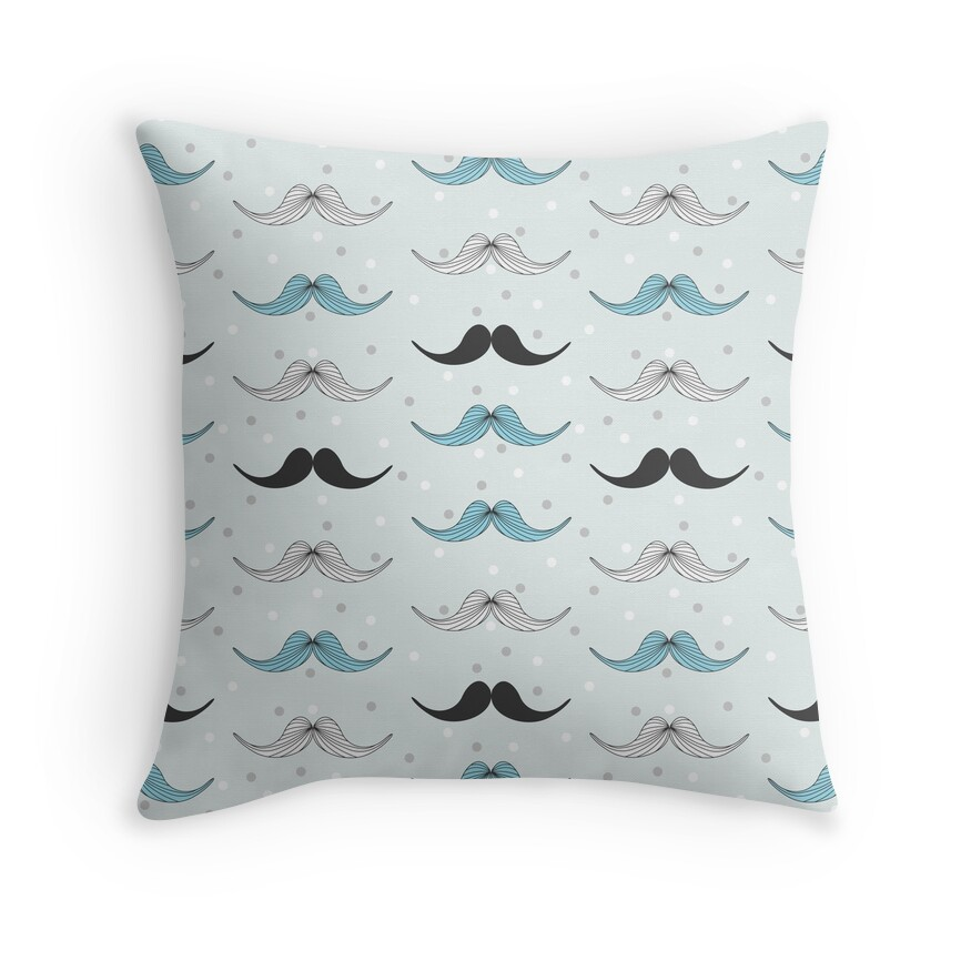 Vintage mustache pattern | Throw Pillow