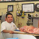 Butcher at the Farmers Market - Carnicero en el Mercado by PtoVallartaMex
