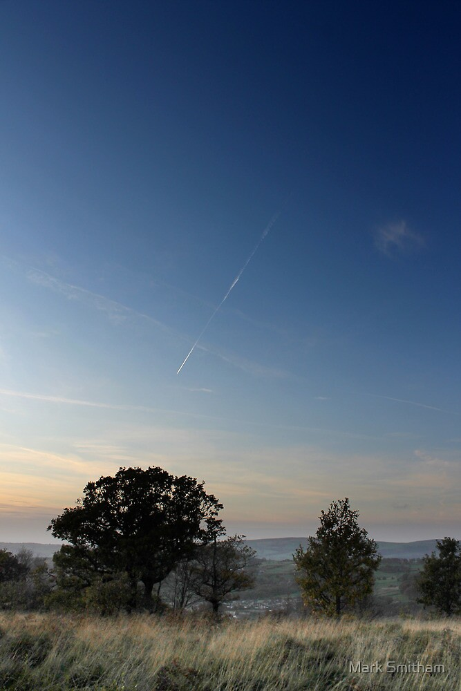 Vapour trail over wispy grass, Shire Hill, Glossop by Mark Smitham