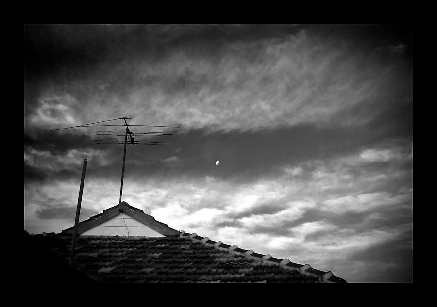 Moon Over Roof by Phoonaz
