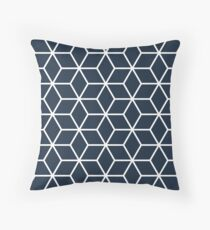 Navy Interlocked hexagon lattice Throw Pillow