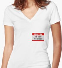Hello, I am not easily embarrassed Women's Fitted V-Neck T-Shirt