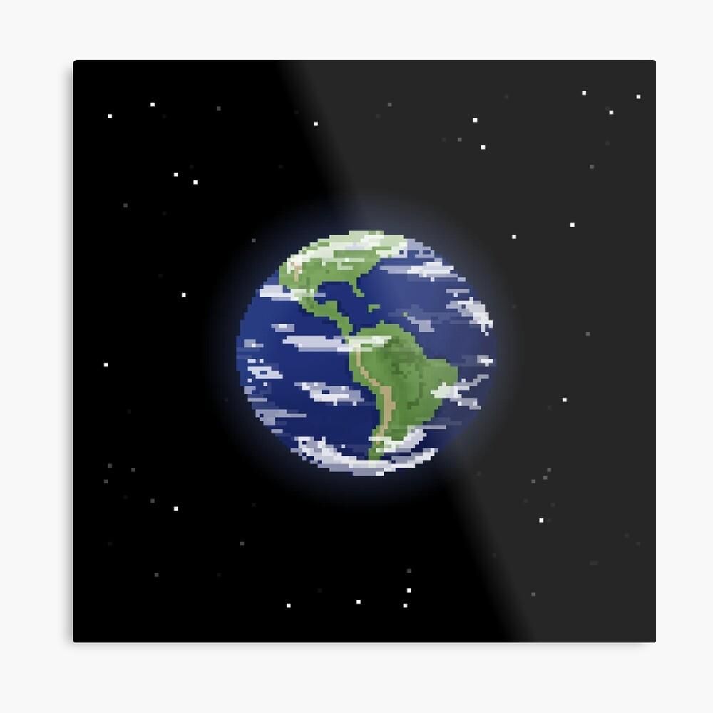 Pixel Earth Metal Print