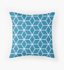 Blue Interlocked hexagon lattice Throw Pillow