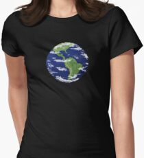 Pixel Earth Women's Fitted T-Shirt
