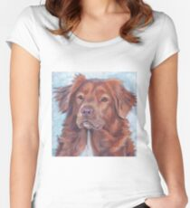 Nova Scotia Duck Tolling Retriever Fine Art Painting Women's Fitted Scoop T-Shirt