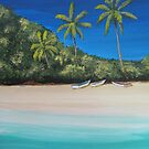 Coconut Trees, Beach and Boats by Matthew Campbell