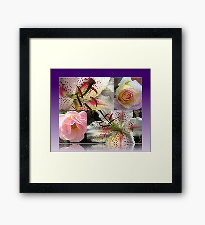 Roses and Lilies Collage in Reflection Frame Gerahmter Kunstdruck