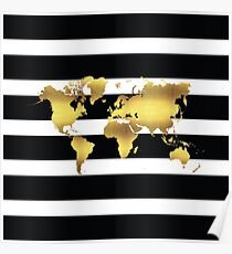 black stripes and gold world map Poster