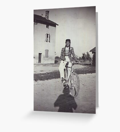 My mom bicycling 70 years ago...&-3500 visualizzaz.agosto 2013 --VETRINA RB EXPLORE 27 GENNAIO 2012 --- Greeting Card