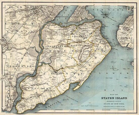 Vintage Karte von Staten Island NY (1896) von BravuraMedia