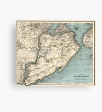 Vintage Map of Staten Island NY (1896) Canvas Print