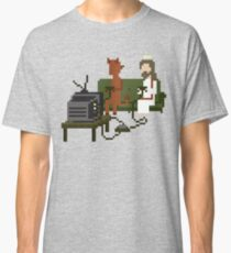 Jesus And Devil Playing Video Games Pixel Art Classic T-Shirt