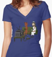 Jesus And Devil Playing Video Games Pixel Art Fitted V-Neck T-Shirt
