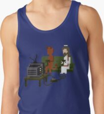 Jesus And Devil Playing Video Games Pixel Art Tank Top