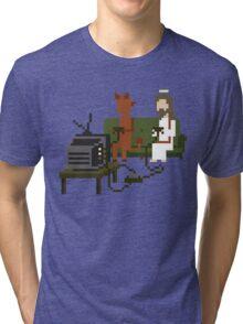 Jesus And Devil Playing Video Games Pixel Art Tri-blend T-Shirt