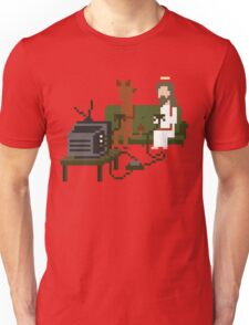 Jesus And Devil Playing Video Games Pixel Art Unisex T-Shirt