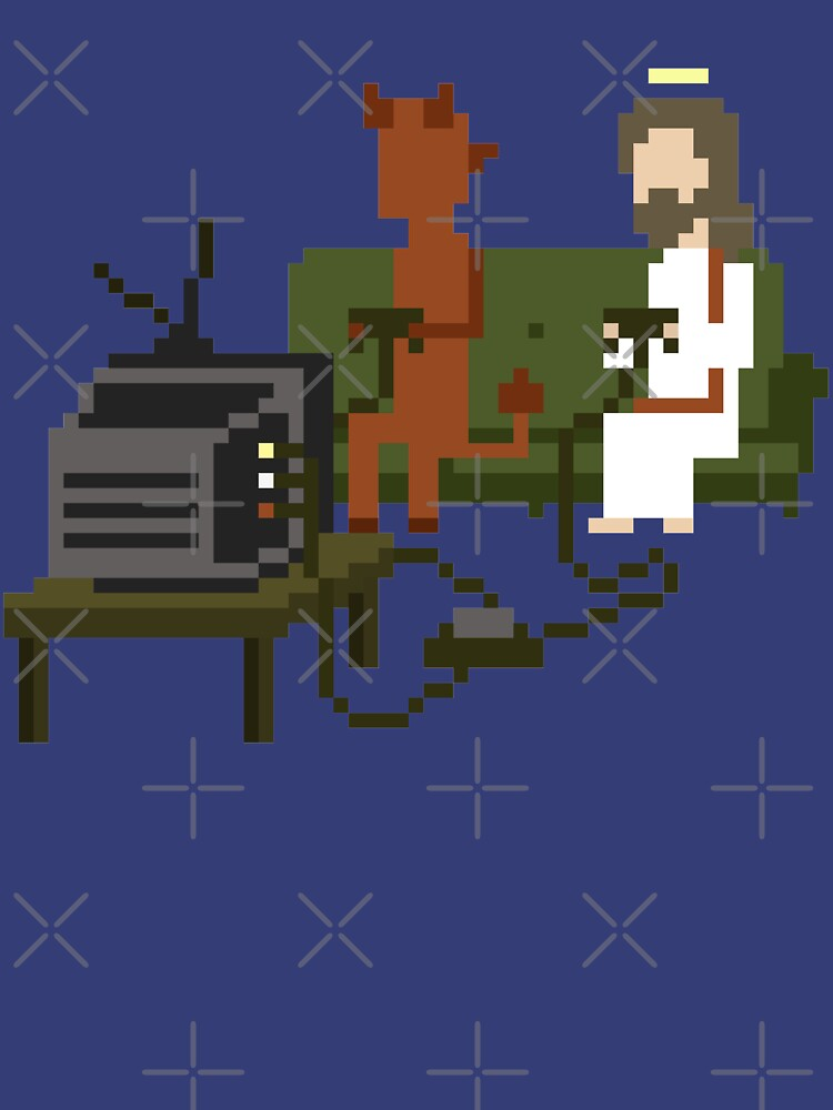 Jesus And Devil Playing Video Games Pixel Art de obinsun