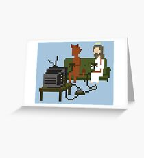 Jesus And Devil Playing Video Games Pixel Art Greeting Card