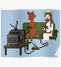 Jesus And Devil Playing Video Games Pixel Art Poster