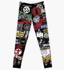 punk rock sticker wall Leggings