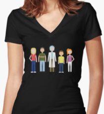 Camiseta entallada de cuello en V Rick y Morty: la familia Smith