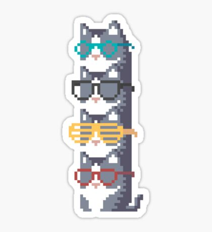 Cats In Glasses Pile Pixel Art Glossy Sticker