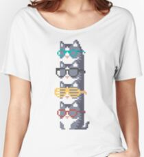 Cats In Glasses Pile Pixel Art Women's Relaxed Fit T-Shirt