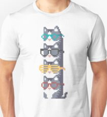 Cats In Glasses Pile Pixel Art Unisex T-Shirt