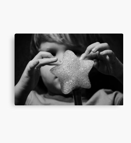 Magic star wand with little hands  Canvas Print