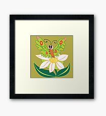 Butterfly on flower cute cartoon Framed Print