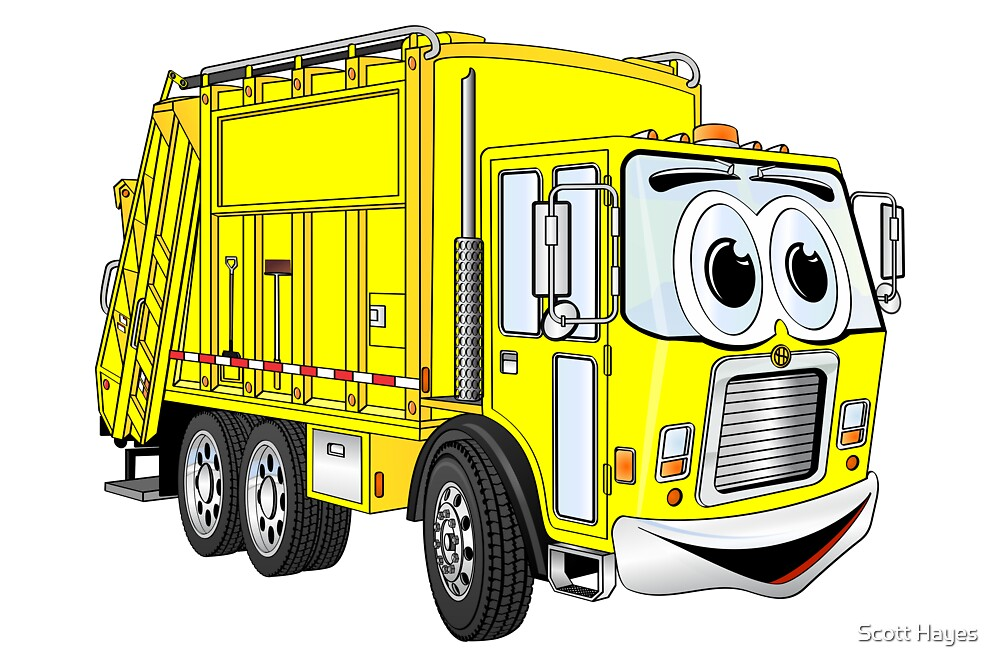"""Yellow Cartoon Garbage Truck"" by Graphxpro 