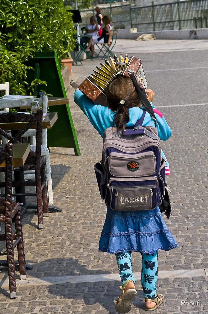 Girl with Accordion Sunshade by Rhoufi