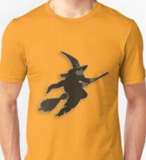Witch on broom stick Unisex T-Shirt