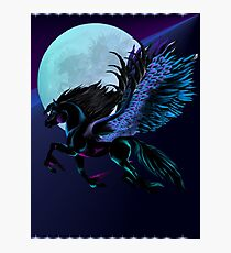 Black Pegasus and Blue Moon Photographic Print