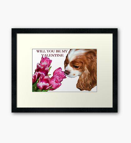 Cavalier King Charles Spaniel Valentine's Day Card Framed Print