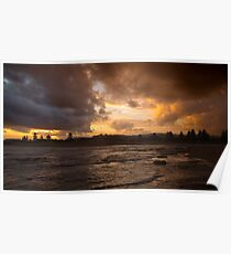 Narrabeen lakes entrance sunset Poster